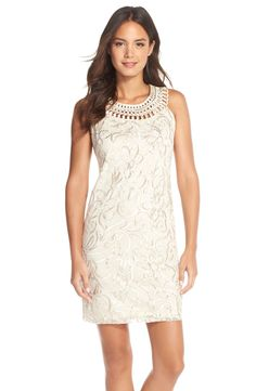 Eliza J Appliqué Mesh Sheath Dress (Petite)
