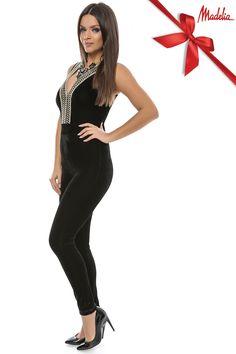 Salopeta din catifea cu decolteu auriu | Madelia Fashion - Magazin online haine și rochii de damă Velvet, Collection