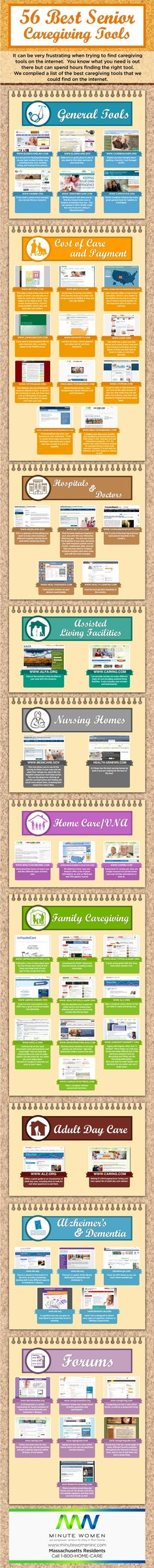 Ryan McEniff, owner of Minute Women Home Care, has created an infographic to display the 56 best senior caregiving tools. Alzheimer Care, Dementia Care, Alzheimer's And Dementia, Alzheimers, Aging Parents, Home Health Care, Elderly Care, Caregiver, Tools