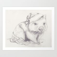 Christmas in Australia – Wombat Art Print by sSquared Workshop - $16.00