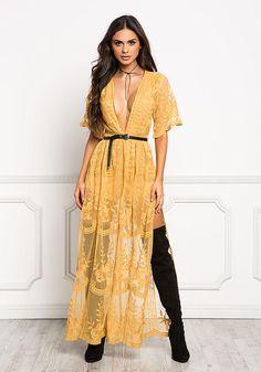 Mustard Lace Plunge High Slit Maxi Dress - Boutique Culture