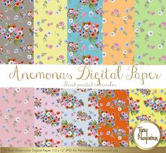 Anemonas Watercolor floral Digital Paper hand painted, watercolor Digital paper, Country, wild flowers digital papers, floral paterns,