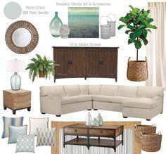 Beige/aqua living room mood board....maybe too coastal?