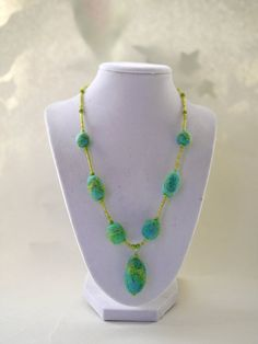 Summer Jewelry, Jewelry, Necklace, Felt, Bead Necklace, Felt Necklace,  New For Summer, Cruise Wear, Turquoise, Felted Jewelry
