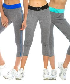 Another great find on #zulily! Mint, Black & Blue Stripe-Band Capri Leggings - Set of Three #zulilyfinds