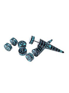 Black & Teal Aztec Faux Plug & Taper 4 Pack,