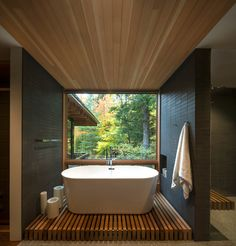 Thoughts on this bathroom? The Bear Stand designed by Bohlin Grauman Miller Bohlin Cywinski Jackson. Ontario Canada - Architecture and Home Decor - Bedroom - Bathroom - Kitchen And Living Room Interior Design Decorating Ideas - Beautiful Home Designs, Beautiful Homes, Modern Bathtub, Modern Bathrooms, Loft Stil, Terrazzo Flooring, Wood Flooring, Hardwood Floors, City Living