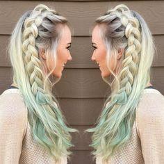 Mermaid unicorn mint hair with Dutch pancake braid. Mystical mint pravana color blonde hair ombré