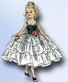 """1950s Vintage Simplicity Sewing Pattern 2293 23"""" High Heel Doll Clothes ORIG"""