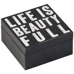 Cechy i korzyści: Pudełko na drobiazgi z uchylanym wieczkiem. Na wieczku biały nadruk. Pudełko dostępne w innych kolorach i z innymi nadrukami.Kolor: Czarno-biały