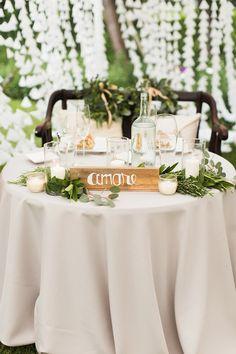 sweetheart table - photo by Julia Elizabeth Photography http://ruffledblog.com/italian-inspired-backyard-wedding