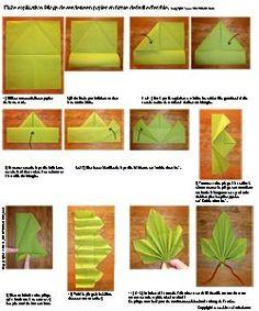 Pliage de serviette de table en forme de feuille d'érable, plier une serviette de table en papier, réaliser une feuille d'érable en papier,pliage de serviette de table en papier en forme de de feuille d'érable