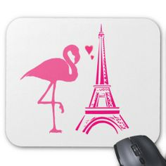 sold 2 pink flamingo in Paris at the Eiffel Tower mousepads