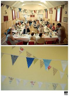 Arnside Village hall wedding. China, bunting and styling by Itsy Bitsy Vintage.