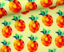 Jersey - Pineapplelada - Hamburger Liebe -Mattgelb Hamburger, Colours, Sewing, Inspiration, Pattern Fabric, Fabrics, Sewing Patterns, Biblical Inspiration, Dressmaking