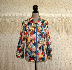 Colorful Print Jacket Medium Hippie Clothing by MagpieandOtis