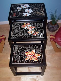 Set of 3 mosaic nesting tables. Asian theme, orchids on all 3 tables