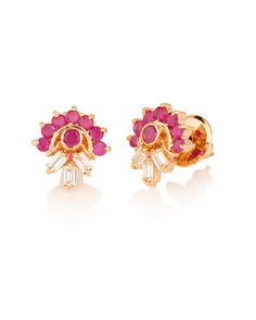 Fascinating Floral Gold Plated Stone Ear Studs   #Earrings