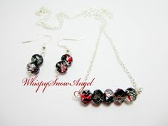 Necklace and Earring Set Rondelle Necklace Black Red Clear Rondelles Gift Set for Her Silver Plate Chain 24 Inch by WhispySnowAngel on Etsy
