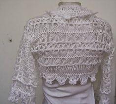 blusas femininas cube sleeve hairpin crochet pattern denim blue