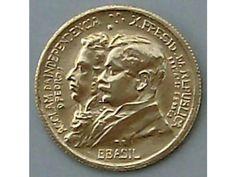 """Moeda antiga do Brasil 1922 de 500 réis  Comemorativa dos 100 anos da Independência do Brasil com erro de cunhagem """"BBASIL"""""""