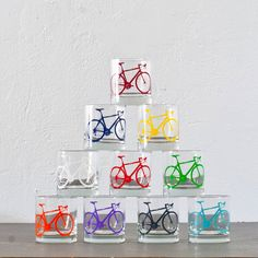 For the bar: Screen-printed Bicycle Old-Fashioned Glasses