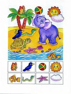 Find the picture - Encuentra la imágen Preschool Learning Activities, Speech Therapy Activities, Preschool Worksheets, Educational Activities, Preschool Crafts, Teaching Kids, Kids Learning, Hidden Picture Puzzles, Visual Perception Activities