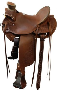 """15"""", 16"""", 17"""" Showman™ Roping Saddle. This saddle features square basket weave…"""
