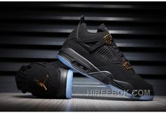 e8ff171286f5 2017 Mens Air Jordan 4 Black Gold Suede Glow In The Dark For Sale Authentic  AYmKAAR