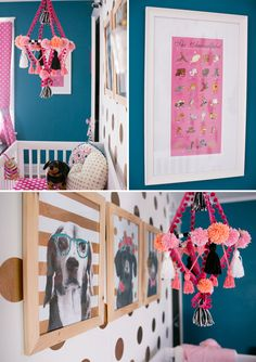 Fun, colorful nursery in teal, pink, black, and gold - nursery decor ideas and color palette