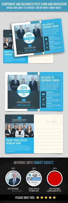 Corporate and Business Post Card Template PSD #design Download: http://graphicriver.net/item/corporate-and-business-post-card/14067556?ref=ksioks