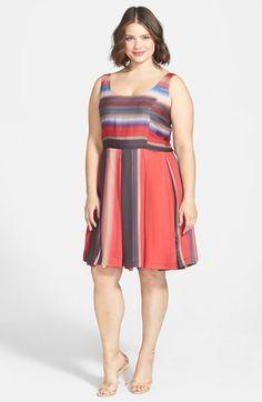 BB Dakota 'Batavia' Stripe Fit & Flare Dress (Plus Size) available at #Nordstrom
