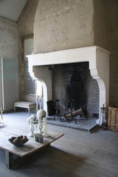 I love this fire place. Love!  Fireplace. Stone mantel traditional french country