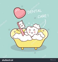 Cute Cartoon Tooth Brush And Clean, Great For Health Dental Care Concept Banco de ilustração vetorial 346554992 : Shutterstock