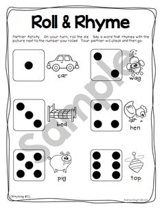 """This """"Roll & Rhyme"""" activity (from the """"Dice Discussions"""" set) is perfect for early readers and helps develop phonemic awareness skills.  It works well in literacy centers, during whole-group instruction, and as a warm-up before small-group work.  $  #rhyming  #phonemicawareness"""