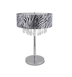 """2 Light 24"""" Trendy Crystal and Chrome Table Lamp with Zebra Print Drum Shade"""