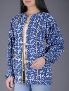 4efba5b766 Indigo-Mustard Natural Dyed Block Printed Pleated Sleeve Cotton Jacket  Cotton Jacket