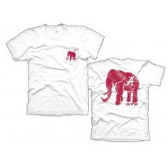 Alabama Elephant on White with crimson Elephant - T-shirts - Shirts - Mens