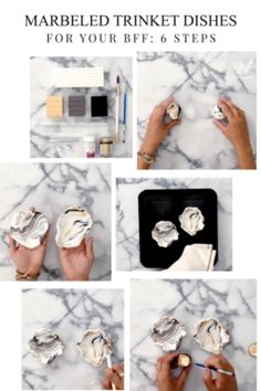 To make DIY BFF Marbled Trinket Dishes, you'll need sculpey, a roller, a paint brush, sealant, and a stamper. 1) Roll clay into a ball 2) pin out the edges 3) stamp bff inside 4) bake for 15 minutes at 275 degrees 5) seal with sealer 6) paint bff engraving in with gold metallic paint.