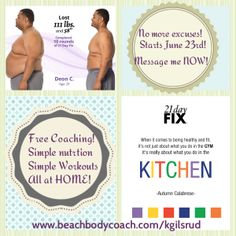 Challenge Groups starting every month! I have had incredible results with working out from home with Beachbody! Join me! www.beachbodycoach.com/kgilsrud