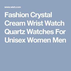 Fashion Crystal Cream Wrist Watch Quartz Watches For Unisex Women Men
