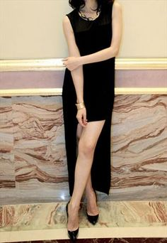 Sexy Side Cut Long Back Dress  #longdress #blackdress #blackcutoffdress