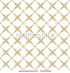 Elegant vector golden seamless pattern. Subtle geometric ornament texture with stars, crosses, floral shapes, lattice. Gold and white luxury background. Asian style design for decoration, prints, web