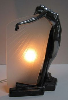FRANKART Butterfly Nymph in Polished Aluminum Glass Art Deco Table Lamp | eBay $295