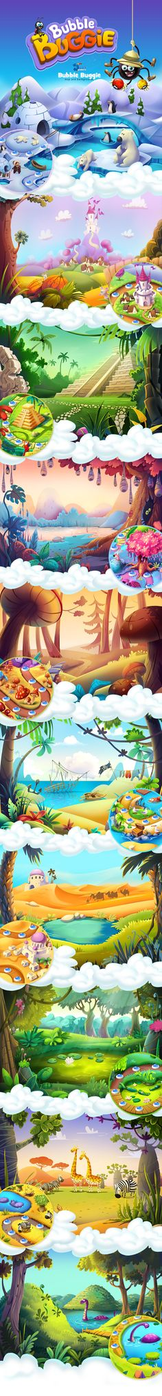 Bubble Buggie: map and backgrounds on Behance