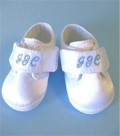 Monogrammed Baby Boy Shoes in White Satin