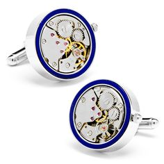 Silver & Lapis Inlaid Watch Movement Cufflinks by Cufflinksman #Cufflinks #Fashion #Jewelry #shopping