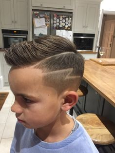 Boys haircut with lightning bolt design. #boyshaircut #roccorex