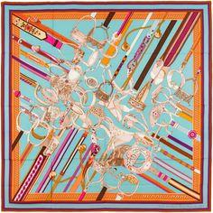 Authentic Hermes Cashmere Silk Shawl CONCOURS D'ETRIERS Blue Brown 140 | eBay