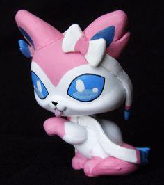 Littlest Pet Shop Pokemon Sylveon ooak custom figure Hand painted LPS cat Eevee  #Hasbro
